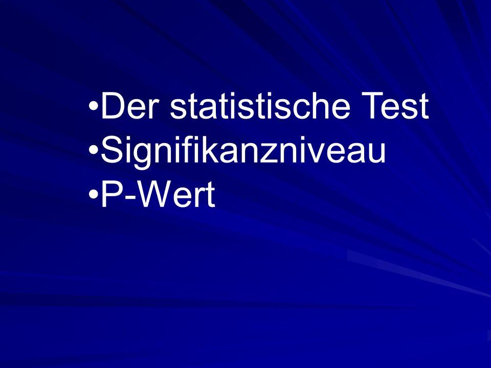 Der statistische Test Signifikanzniveau P-Wert