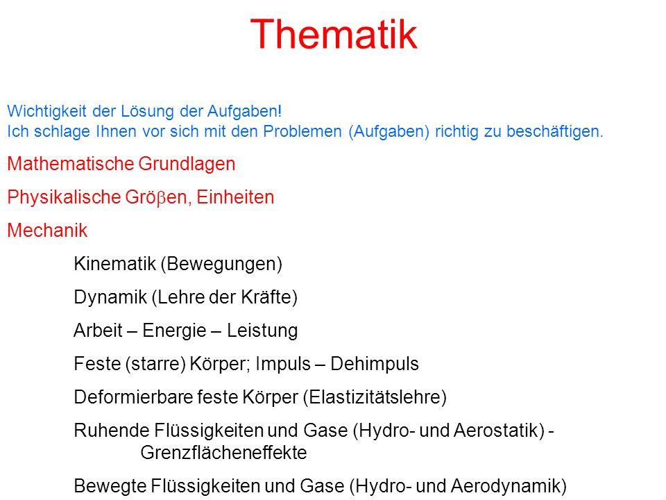 Thematik Mathematische Grundlagen Physikalische Gröben, Einheiten