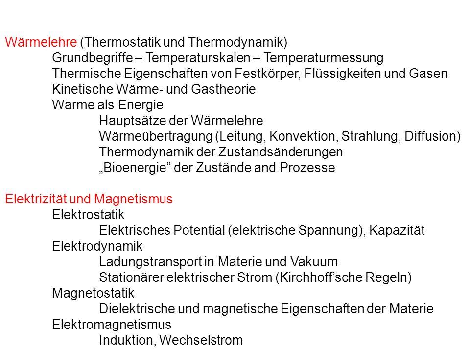 Wärmelehre (Thermostatik und Thermodynamik)