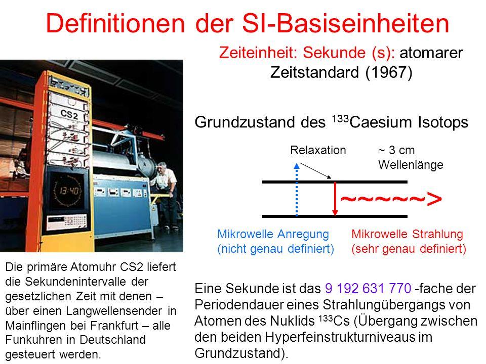 Zeiteinheit: Sekunde (s): atomarer Zeitstandard (1967)