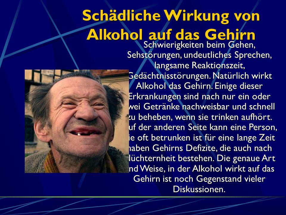 Schädliche Wirkung von Alkohol auf das Gehirn