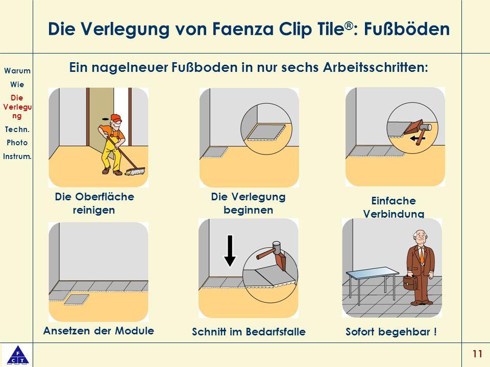 Die Verlegung von Faenza Clip Tile®: Fußböden