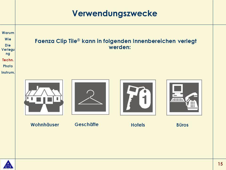 Faenza Clip Tile® kann in folgenden Innenbereichen verlegt werden: