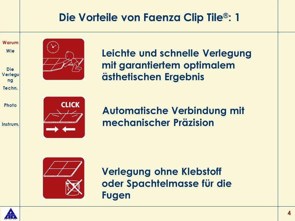 Die Vorteile von Faenza Clip Tile®: 1