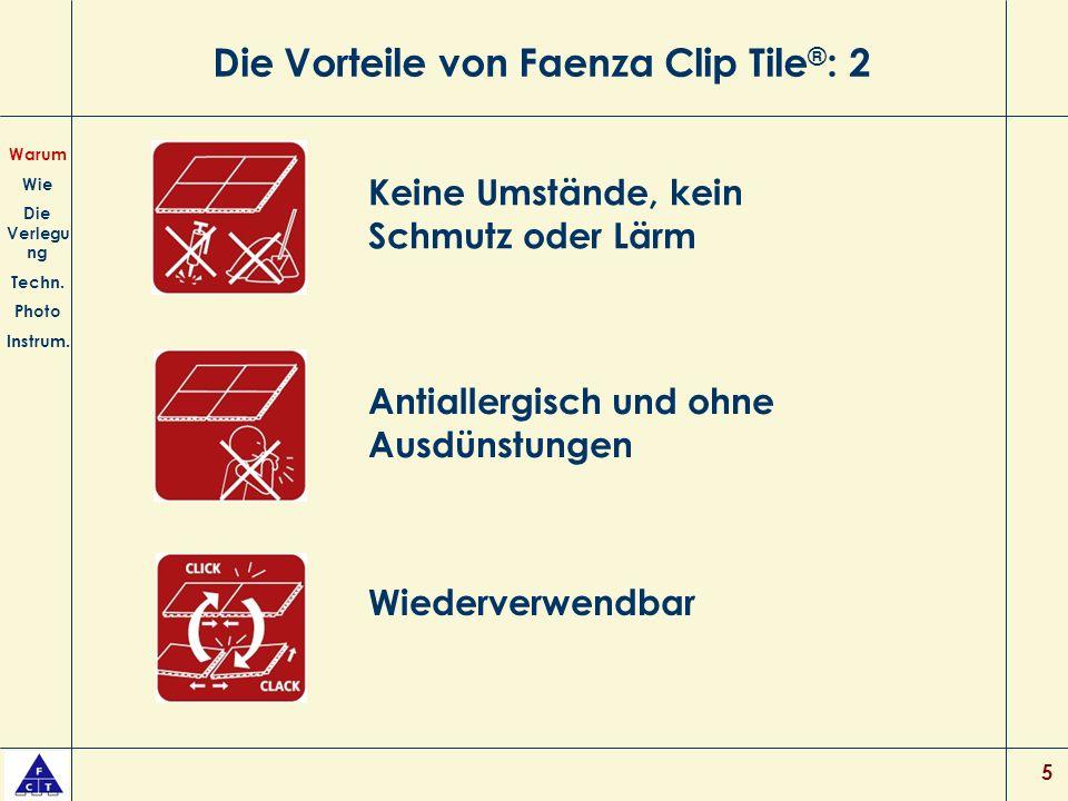 Die Vorteile von Faenza Clip Tile®: 2