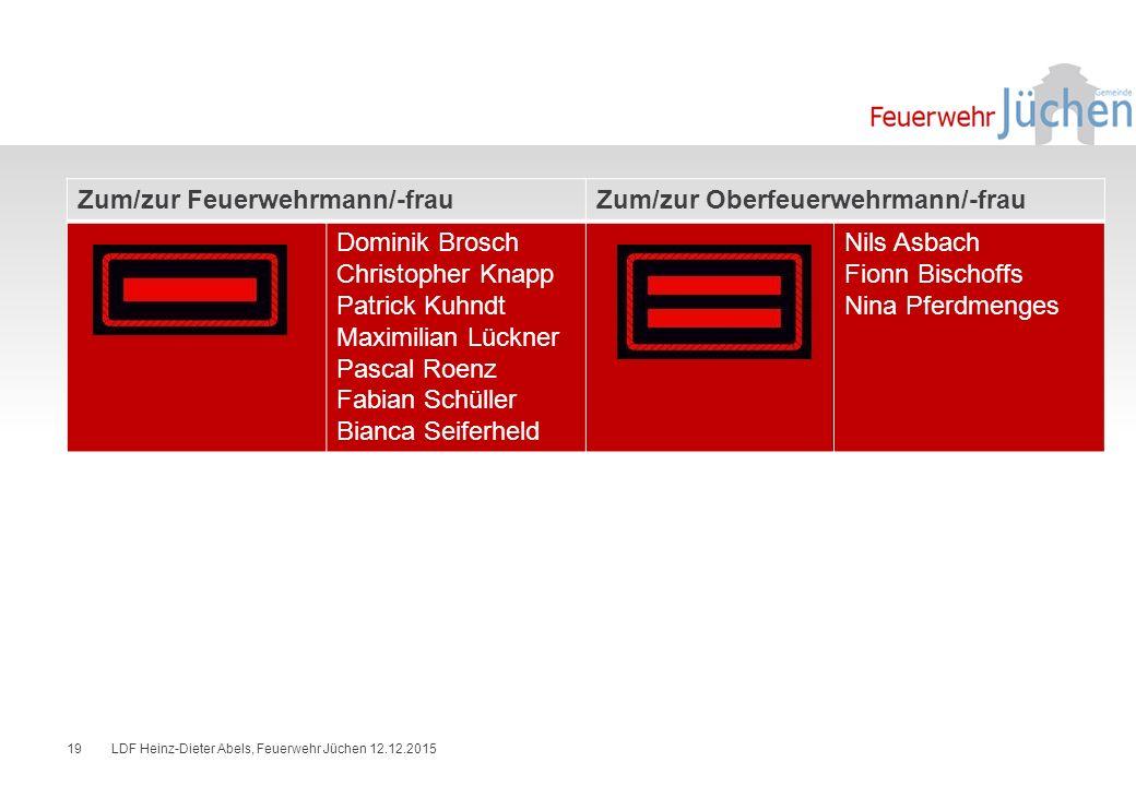 Zum/zur Feuerwehrmann/-frau Zum/zur Oberfeuerwehrmann/-frau