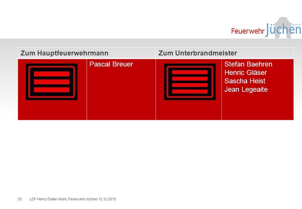 Zum Hauptfeuerwehrmann Zum Unterbrandmeister Pascal Breuer