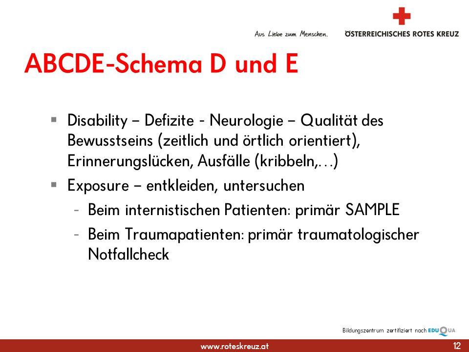 ABCDE-Schema D und E
