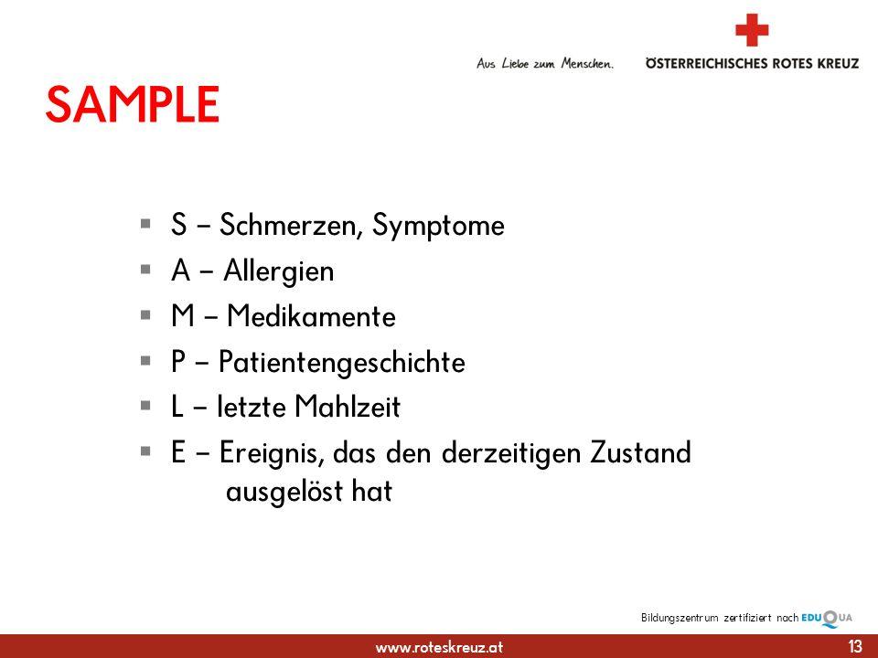 SAMPLE S – Schmerzen, Symptome A – Allergien M – Medikamente