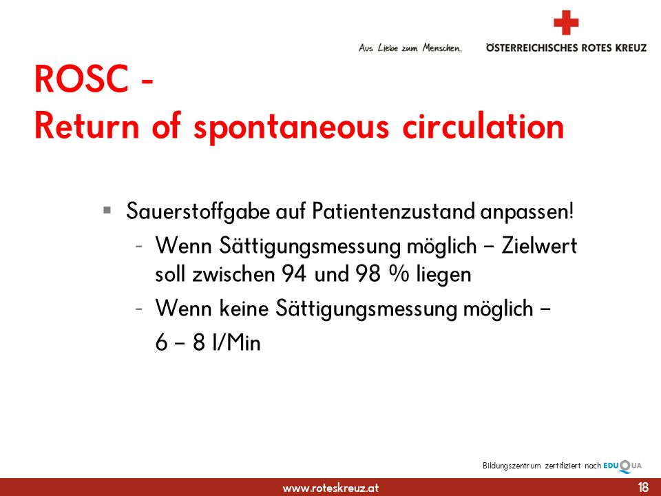 ROSC - Return of spontaneous circulation
