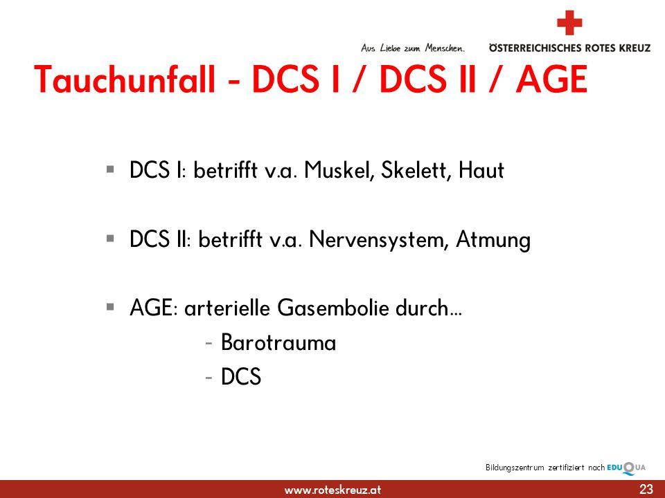 Tauchunfall - DCS I / DCS II / AGE