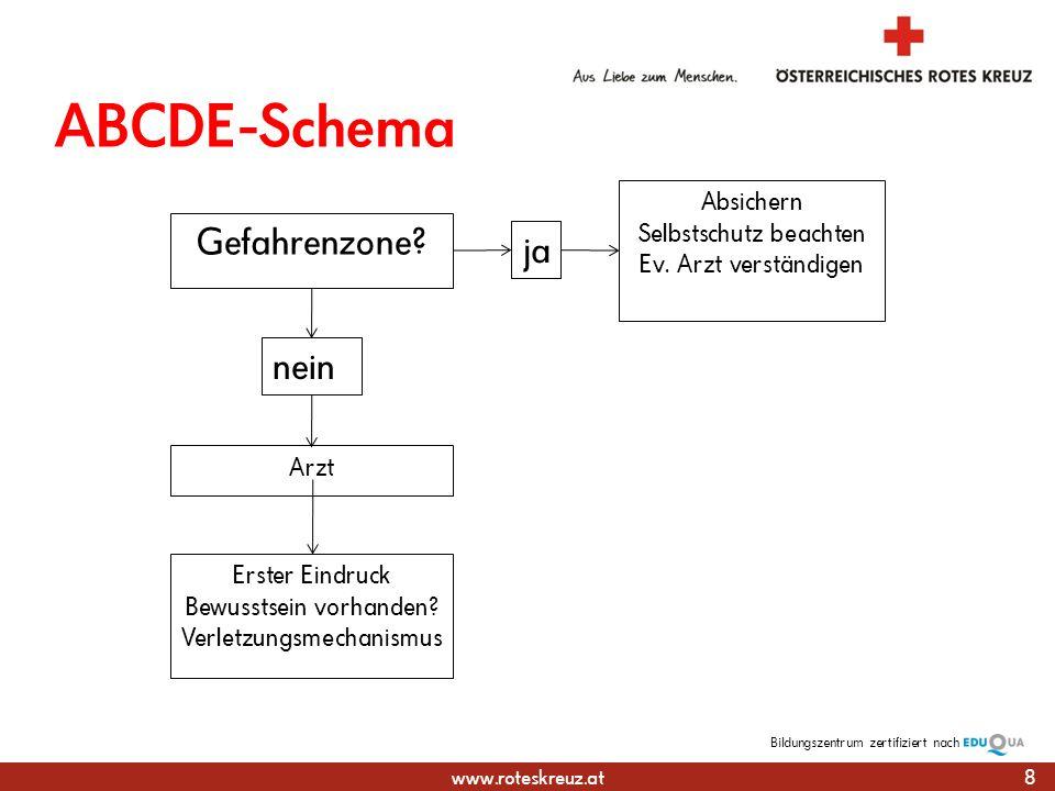 ABCDE-Schema Gefahrenzone ja nein Absichern Selbstschutz beachten