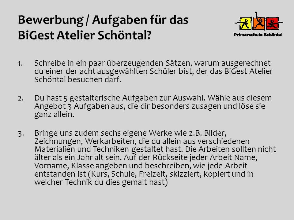 Bewerbung / Aufgaben für das BiGest Atelier Schöntal