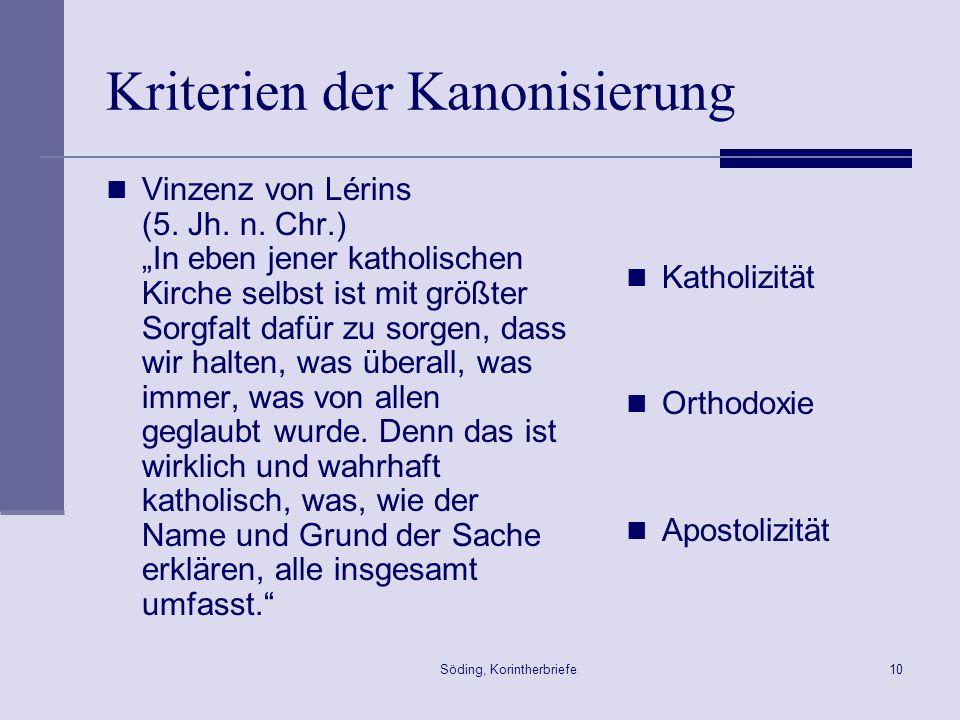 Kriterien der Kanonisierung