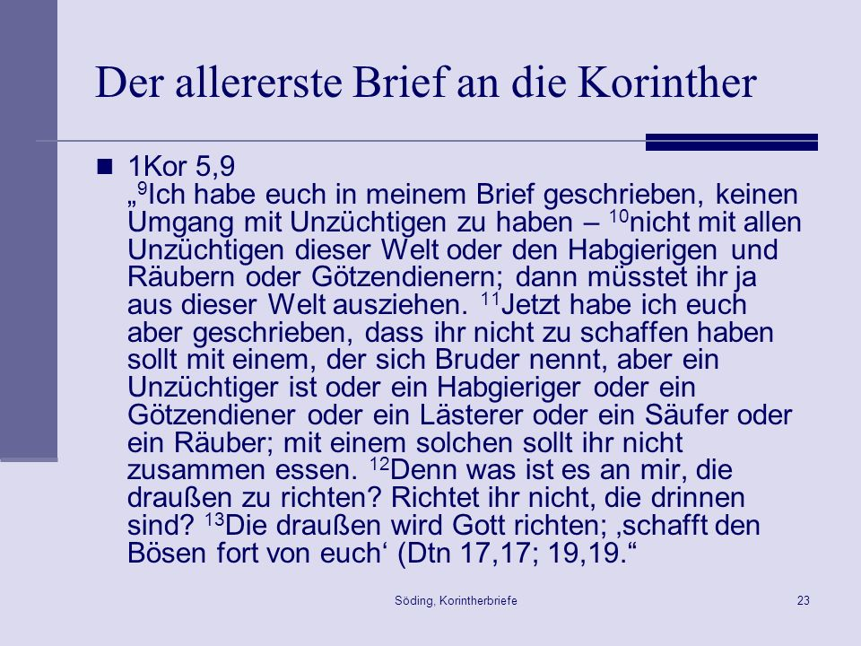 Der allererste Brief an die Korinther