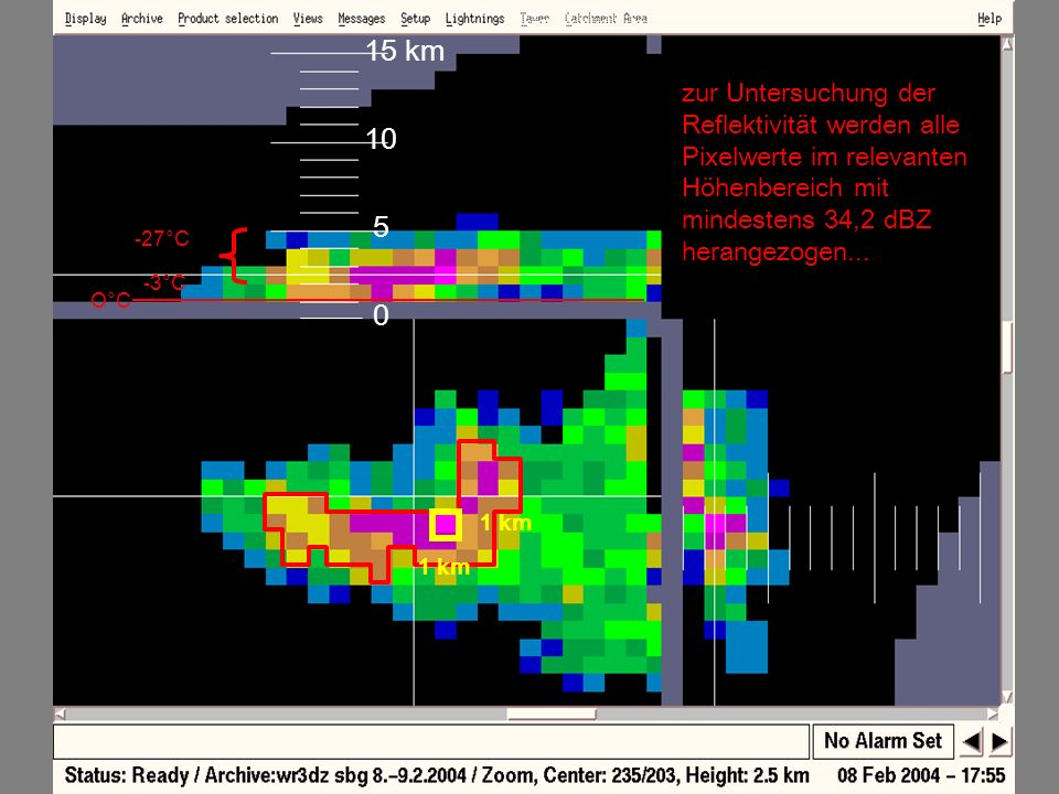 15 kmwxr. zur Untersuchung der Reflektivität werden alle Pixelwerte im relevanten Höhenbereich mit mindestens 34,2 dBZ herangezogen...