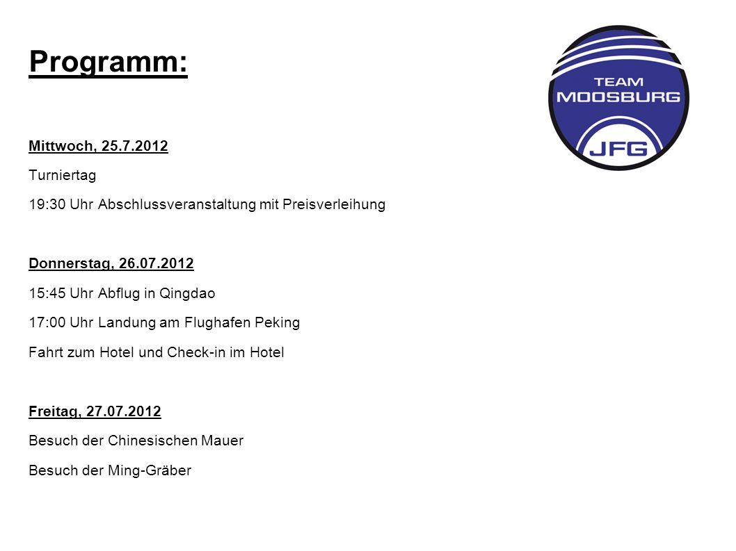 Programm: Mittwoch, 25.7.2012 Turniertag