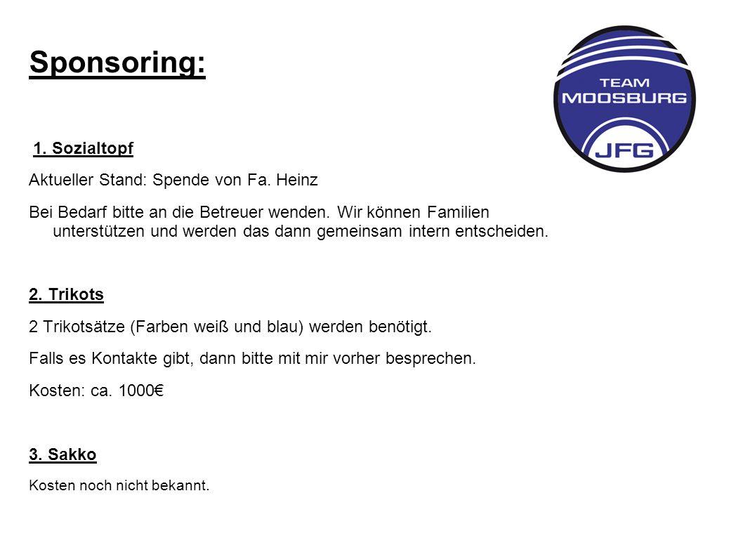 Sponsoring: Aktueller Stand: Spende von Fa. Heinz
