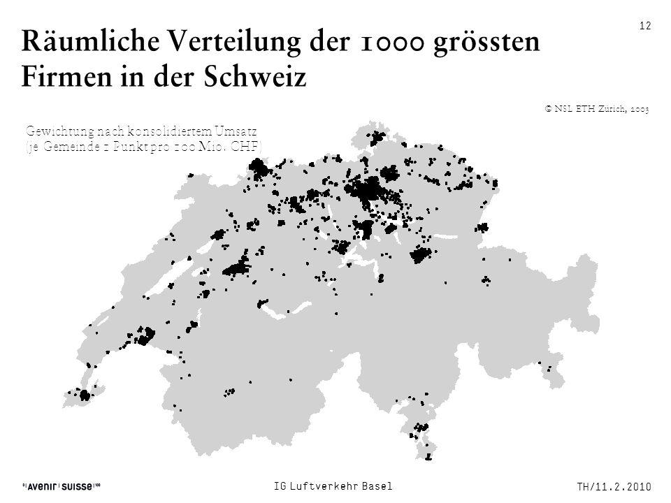 Räumliche Verteilung der 1000 grössten Firmen in der Schweiz