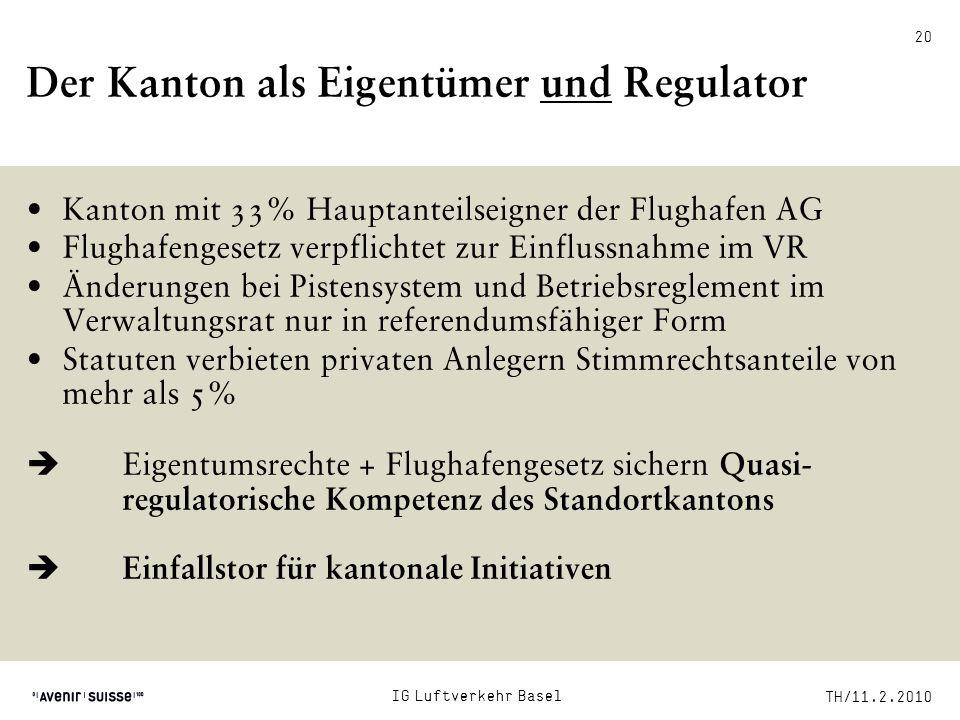 Der Kanton als Eigentümer und Regulator