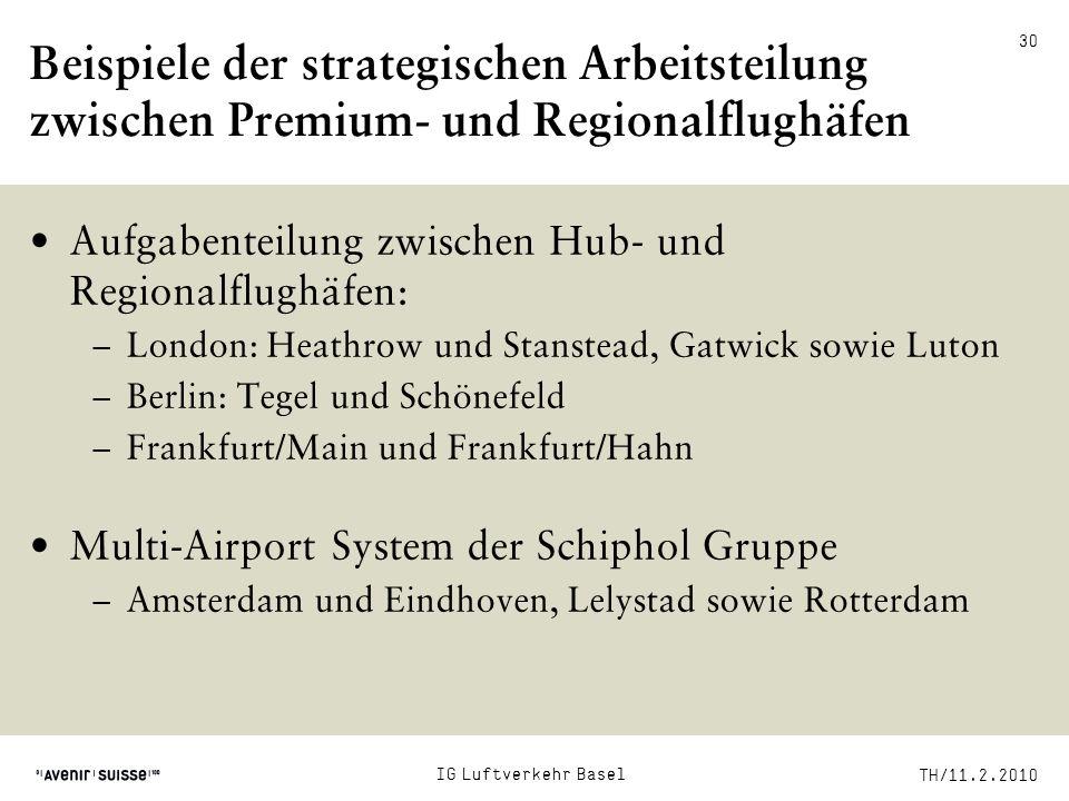 Beispiele der strategischen Arbeitsteilung zwischen Premium- und Regionalflughäfen