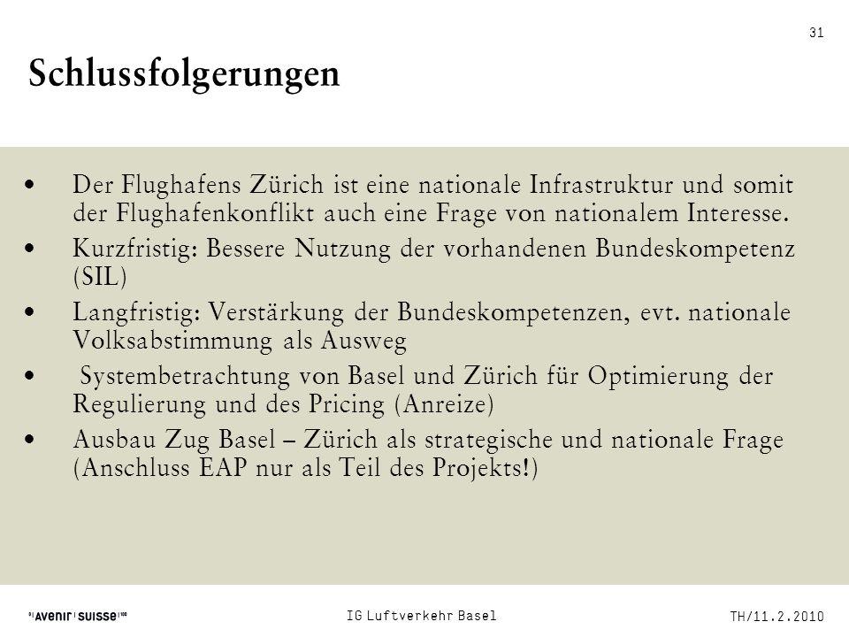 Schlussfolgerungen Der Flughafens Zürich ist eine nationale Infrastruktur und somit der Flughafenkonflikt auch eine Frage von nationalem Interesse.