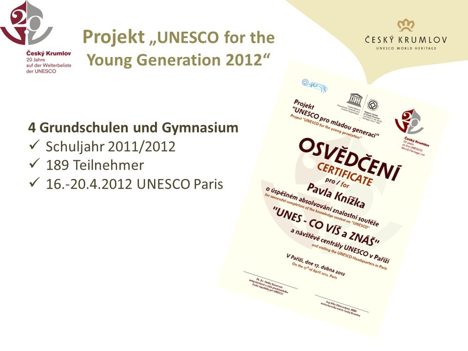 "Projekt ""UNESCO for the Young Generation 2012"