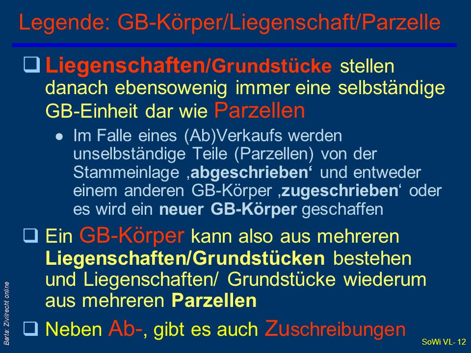 Legende: GB-Körper/Liegenschaft/Parzelle