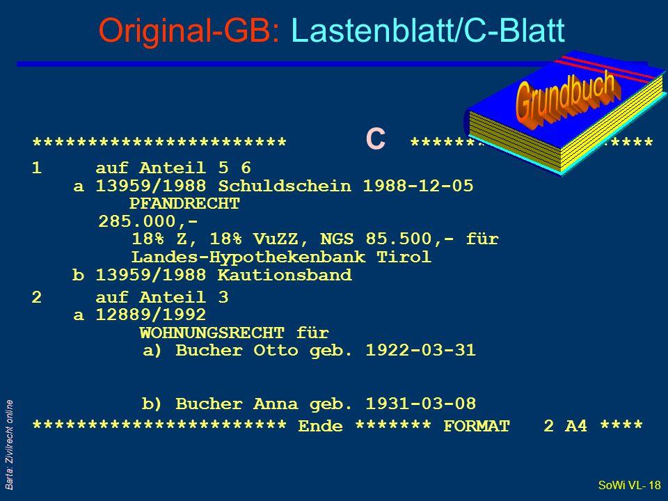 Original-GB: Lastenblatt/C-Blatt