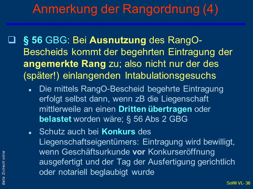 Anmerkung der Rangordnung (4)