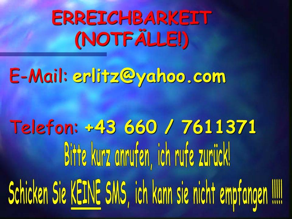 ERREICHBARKEIT (NOTFÄLLE!)