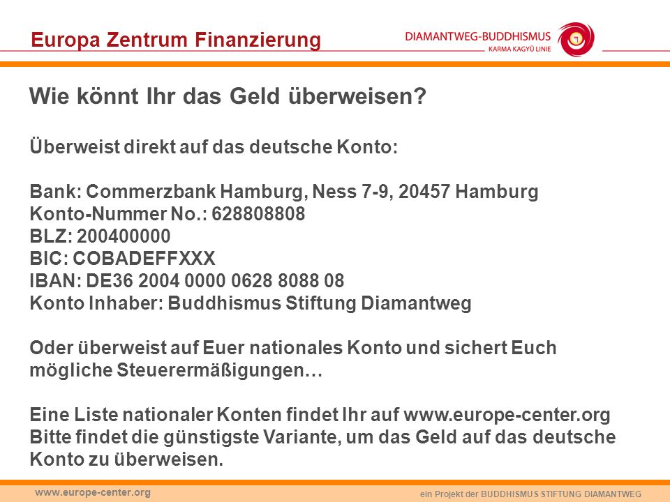 Europa Zentrum Finanzierung