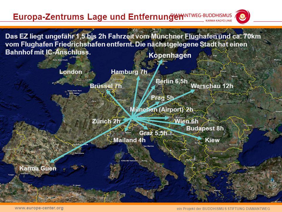 Europa-Zentrums Lage und Entfernungen