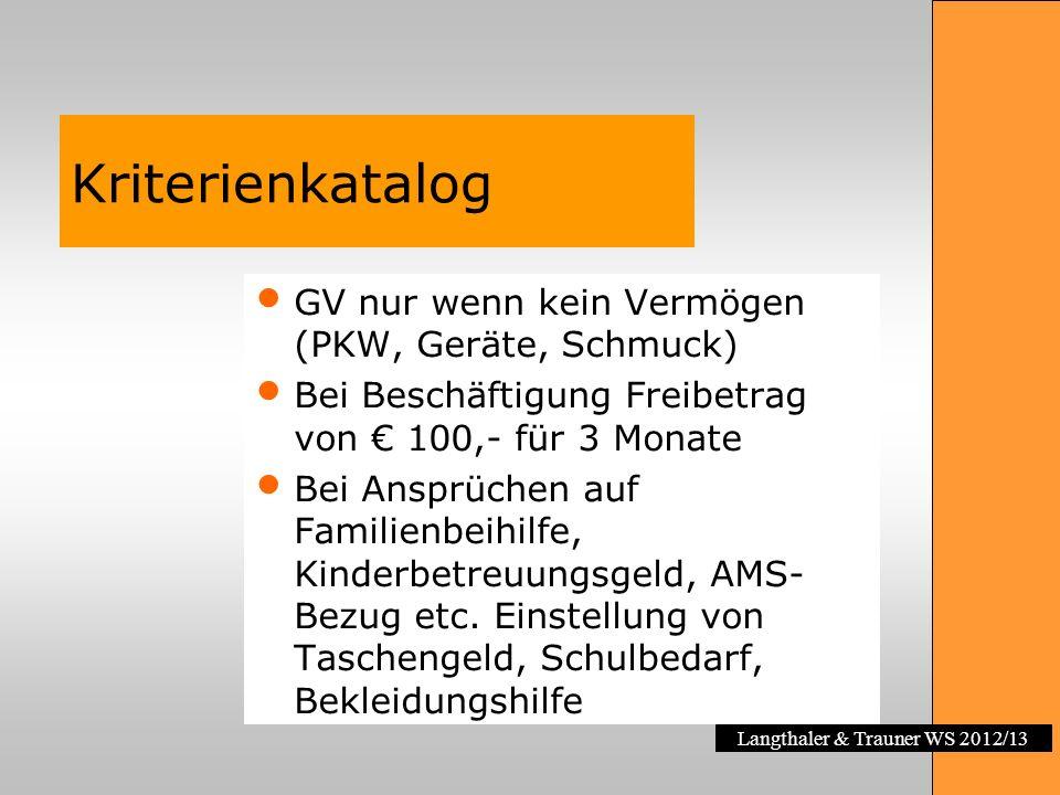 Kriterienkatalog GV nur wenn kein Vermögen (PKW, Geräte, Schmuck)
