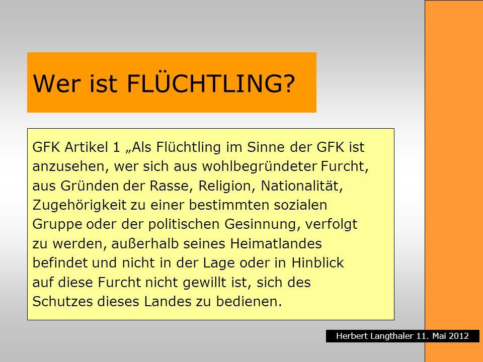 """Wer ist FLÜCHTLING GFK Artikel 1 """"Als Flüchtling im Sinne der GFK ist"""