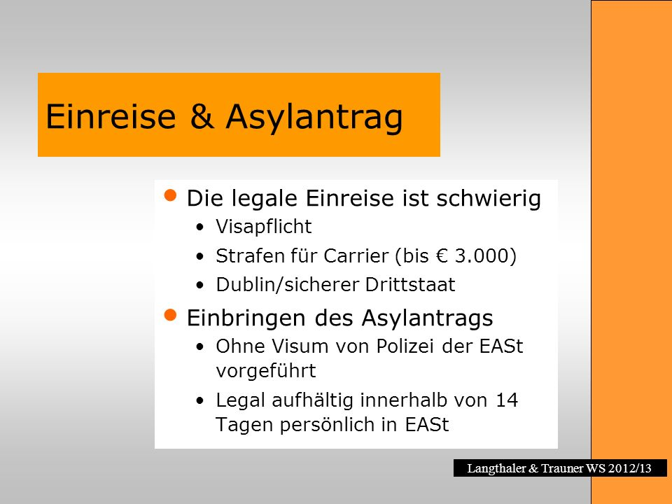 Einreise & Asylantrag Die legale Einreise ist schwierig