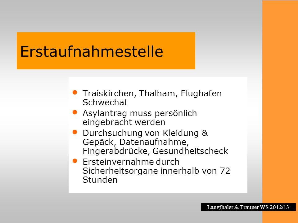 Erstaufnahmestelle Traiskirchen, Thalham, Flughafen Schwechat