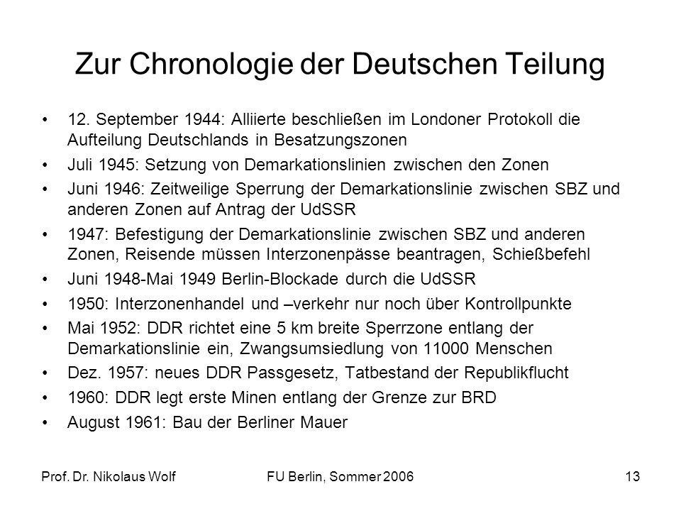 Zur Chronologie der Deutschen Teilung