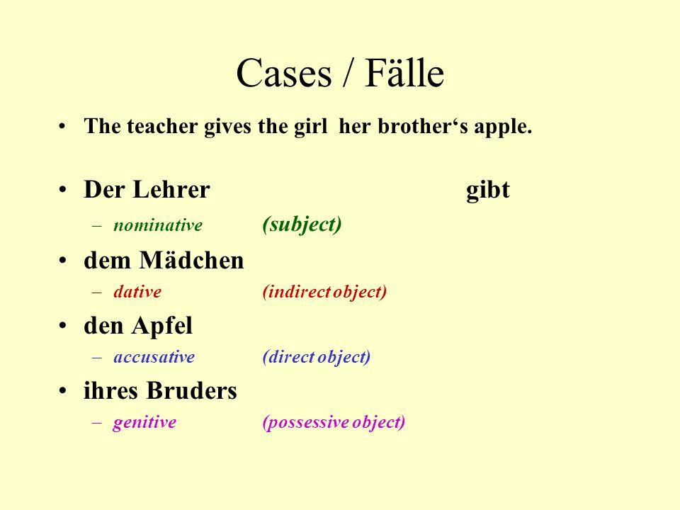 Cases / Fälle Der Lehrer gibt dem Mädchen den Apfel ihres Bruders