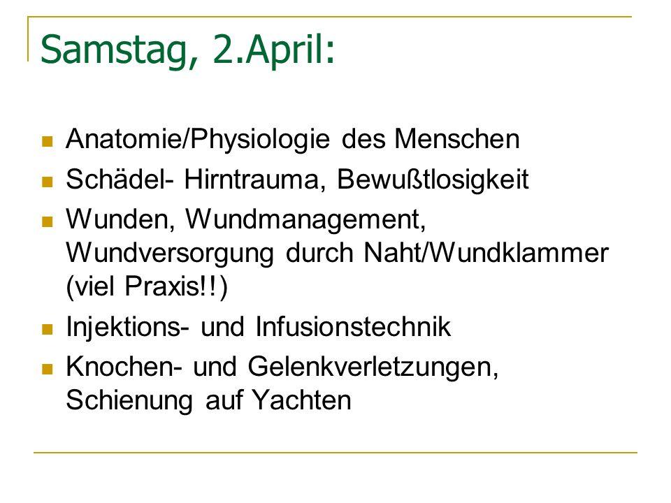 Samstag, 2.April: Anatomie/Physiologie des Menschen