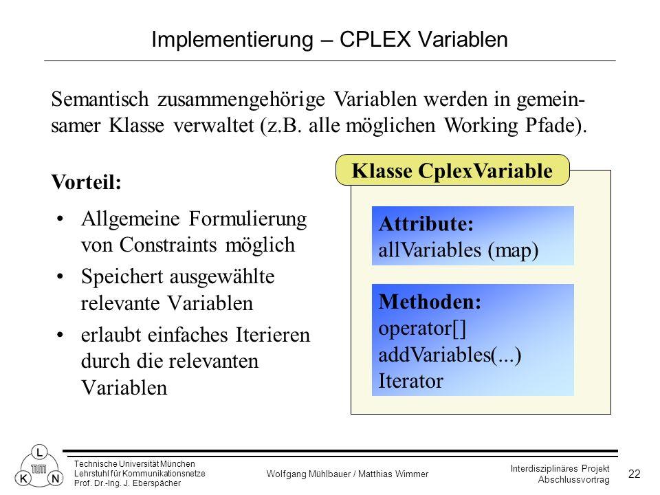 Implementierung – CPLEX Variablen