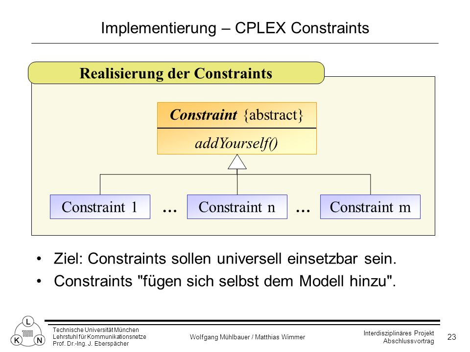 Implementierung – CPLEX Constraints