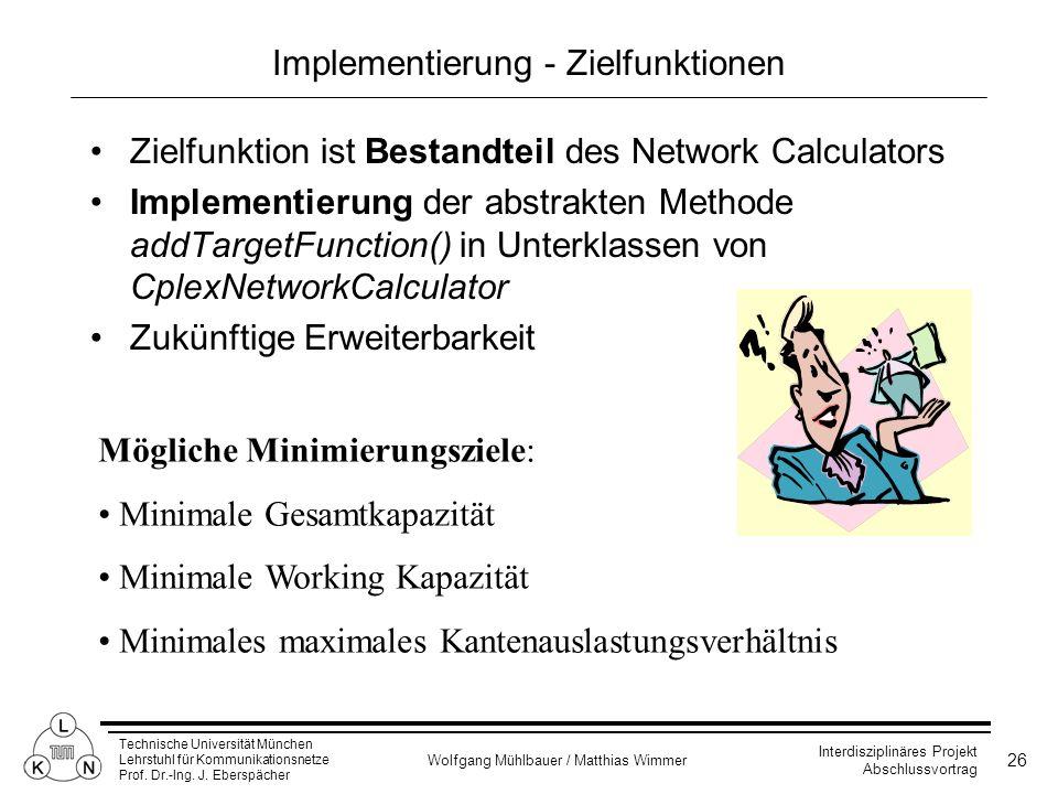 Implementierung - Zielfunktionen