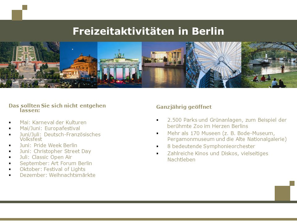 Freizeitaktivitäten in Berlin