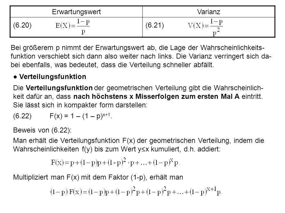 Erwartungswert Varianz. (6.20) (6.21)