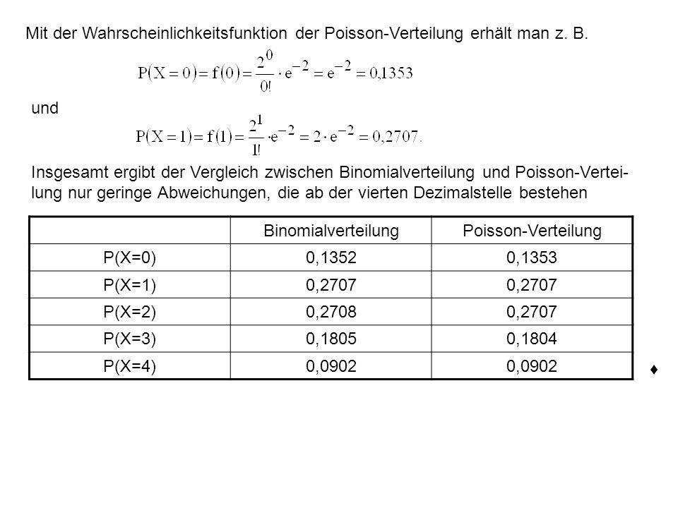 Mit der Wahrscheinlichkeitsfunktion der Poisson-Verteilung erhält man z. B.