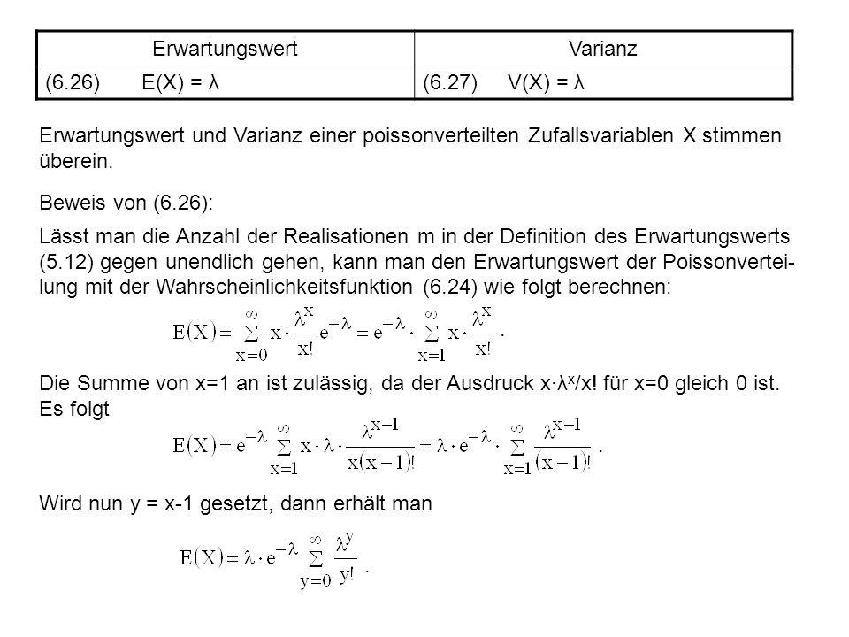 Erwartungswert Varianz. (6.26) E(X) = λ. (6.27) V(X) = λ.