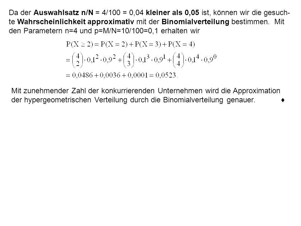 Da der Auswahlsatz n/N = 4/100 = 0,04 kleiner als 0,05 ist, können wir die gesuch- te Wahrscheinlichkeit approximativ mit der Binomialverteilung bestimmen. Mit den Parametern n=4 und p=M/N=10/100=0,1 erhalten wir