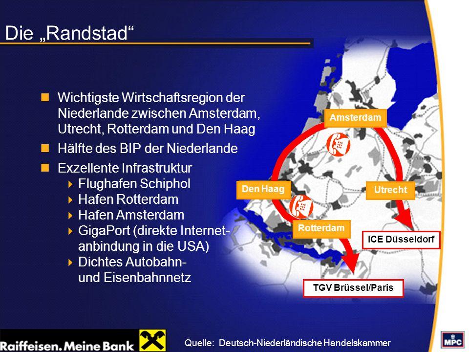 """Die """"Randstad Wichtigste Wirtschaftsregion der Niederlande zwischen Amsterdam, Utrecht, Rotterdam und Den Haag."""