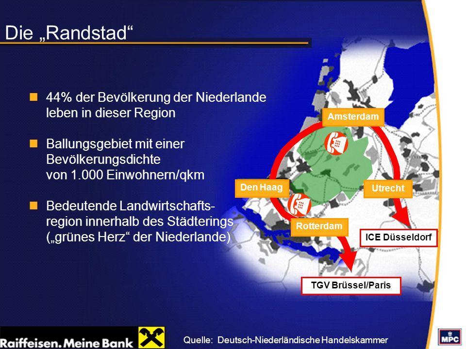 """Die """"Randstad 44% der Bevölkerung der Niederlande leben in dieser Region. Ballungsgebiet mit einer Bevölkerungsdichte von 1.000 Einwohnern/qkm."""